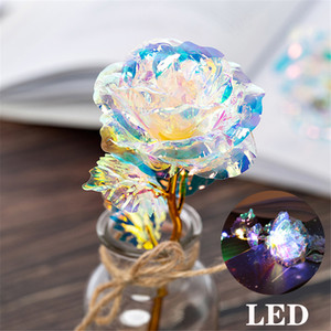 Valentine's Day LED Luminous 24k Gold Foil Plated Rose Creative Gifts Lasts Forever Rose for Lover's Wedding Christmas Day Gifts