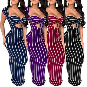 Women striped casual maxi dresses print short sleeve S-2XL night club print sexy 4COLORS spring summer fashion casual clothes 2601