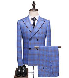 NUOVO Popolare Blue Groom Tuxedos Slim Fit 3 Pezzi Mens Abiti da sposa Doppio Breasted Blazer Formale Uomini Business Tuta (Giacca + Pantaloni + Gilet)