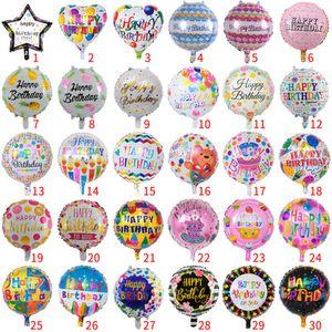 Commercio all'ingrosso 50pcs 18 pollici palloncino compleanno giocattoli per bambini rotondo buon compleanno palloncino in alluminio festa di compleanno decorazione della casa palloncino