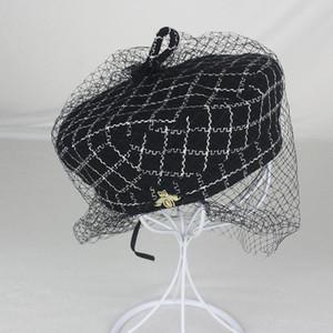 Mesh treillis Beret Chapeaux pour femmes Mode élégant octogonales chapeaux Mode petite abeille dames de la haute qualité Chapeaux fabricants d'approvisionnement