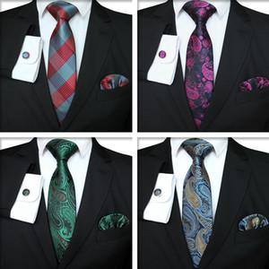 Série Plaid Tie Set Mode Hommes classique en soie jacquard cravate Boutons de manchette Hanky tissé hommes d'affaires Tie Set TTA-1116