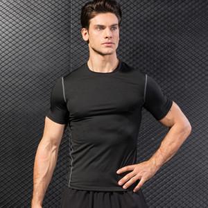 Горячая быстро сухой спортивная рубашка мужчины бег фитнес плотные rashgard футбол баскетбол тренажерный зал Демикс спортивная одежда сжатия футболки