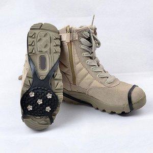 5 스터드 미끄럼 방지 등반 얼음 눈 스테이플 스파이크 그리퍼 클리트 신발 커버 그립 스테이플