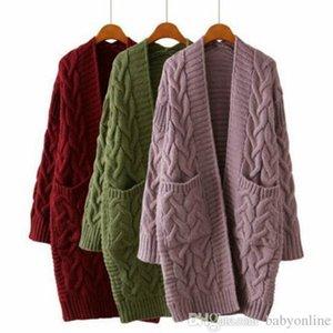 2020 Autunno a maniche lunghe di modo di inverno donne slacciano il lavoro a maglia del maglione del cardigan delle donne lavorato a maglia femminile oversize con tasche FS5796