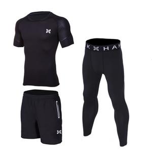 Men Sport Running Sets t shirt Basketball Soccer Football Tennis Fitness GYM Tights Shorts Shirts Pants Leggings suit Reflective
