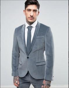 Brand New Grey Velvet Groom Tuxedos Shawl Lapel Groomsman Wedding 2 Piece Suit Fashion Men Prom Jacket Blazer(Jacket+Pants+Tie) 90