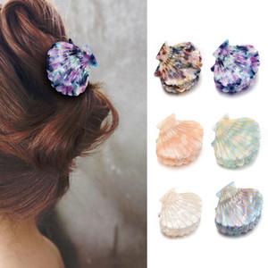 Le donne di Shell nuovo modo artigli dei capelli della clip Acetato resina stampa floreale clip impugnature bambini Coda di cavallo forcelle artigli dei capelli accessori per capelli A1811