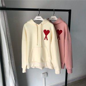 França Rua Tide marca AMI Outono e Inverno Designer Amor Velvet bordado Womens Hoodies com capuz Silhueta Europa e América camisola