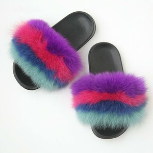 Summer Fluffy Flip Flops Mixed Color Real Fur Slippers Furry Slides Female Fuzzy Home Slippers Flat Plush Shoes Casual Sandals