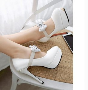 2020 Spring and Autumn with New style fashion High heel fine heel round head waterproof table bowknot Women's shoes@LKIOP9899