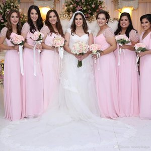 2019 Nouveau Blus Rose Sans manches en mousseline de soie sirène plage robes de demoiselle d'honneur demoiselle d'honneur robe robe de soirée Summer Party Dress