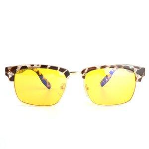 Gudzws klassisch rechteckig Anti Blue Rays Brille Gelb-Linse Demi Rahmen Augenschutz von Electronic Display Unisex