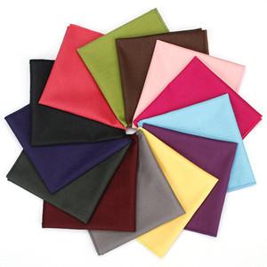 KR1154-1166 Men's Cotton Pocket Square Solid Color Red Blue Yellow Handkerchief Chest Towel Wedding Party Suit Hankies 25*25CM T200618