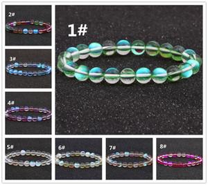 Bracciale elastico Mermaid Glass Bracciali Boho placcati perle di vetro colorate Bracciale Strand
