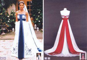 Broderie Perles De Mariée Robe De Bal Bustier Blanc Avec Robe De Mariée Rouge Plus La Taille Royal Blue Satin Robe De Mariée Une-ligne
