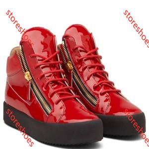 Giuseppe Zanotti GZ NEUE zip Italien Designer Schuhe aus Echtem Leder Freizeitschuhe goldene Reißverschluss Männer und Frauen High Top Turnschuhe Trainer
