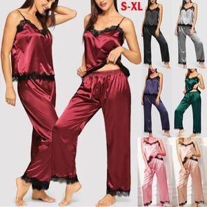 Summer Girl Mulheres de cetim de seda Pijamas Set Pajama Pijamas Roupa de Noite Loungewear Homewear