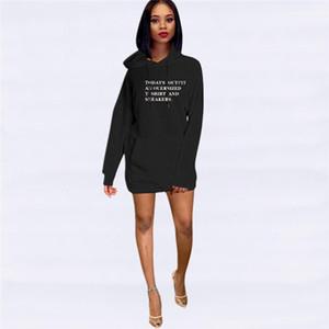 Casual con cappuccio vestiti da modo grande tasca vestiti delle donne incappucciate rivestite Designer Abbigliamento Donna Lettera Stampa Womens