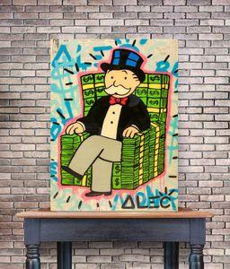 Alec Monopoly Graffiti Handwerk Geld Stacks Stuhl Wohnkultur Handbemalte HD-Druck-Ölgemälde auf Leinwand-Wand-Kunst-Leinwandbilder 200523