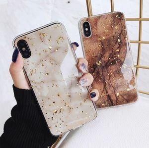 Luxo da folha de ouro Bling Marble Phone Case Glitter Case para iPhone Para 11promax X XS Max XR frete grátis