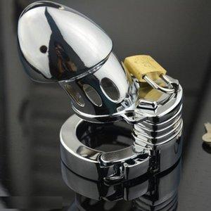 قابل للتعديل جهاز قفل BDSM معدن العفة القضيب عبودية الرجال قفص حلقة BDSM قفل ألعاب مثيرة للالديك Vhdud