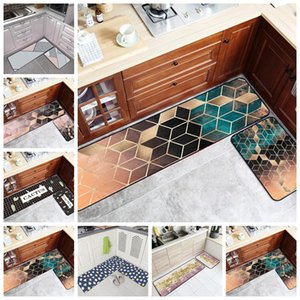 Golden Metal Geometric Kitchen Carpets Bath Water Absorption Home Entrance Floor Mat Hallway  Kitchen Non-Slip Area Rugs