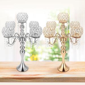 Vela de cristal de casamento Titular Candelabra Centro mesa central do partido Castiçais Decor Lanterna ficar Silver / Gold SH190924 casa Jantar