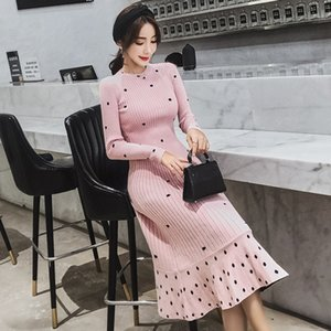 2020 autumn Winter New fashion Korean Women Polka Dot Long Sweater Pullover Over the Knee Knitted Sweater Dress high quality