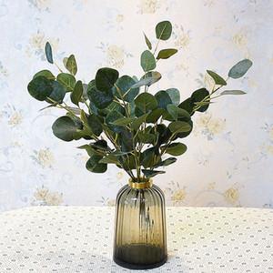 55CM artificiale Eucalipto Foglia floreale Stem Faux Verde Foglia per la Fotografia decorazione della festa nuziale casa Craft falso piante