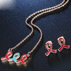 Ruban soie gros rouge bleu bowknot bijoux à la mode Set boucles d'oreilles Studs collier pendentif Party amant anniversaire Cadeaux Femmes