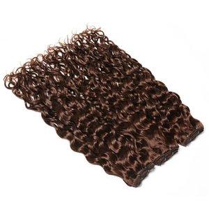 "Chocolate Brown indische Menschenhaar-Webart-Bundles Nass- und Wellenförmige Doppel Tressen 3 Bundles # 4 Dunkelbraun Wasser Welle Menschenhaar-Verlängerungen 10-30"""
