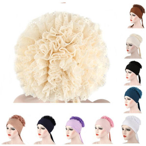 Muslim Big Flower Hat Woman Turban Indian Solid Cotton Breathable Headwrap Hijab Women Elastic Headscarf Headwear Hair Accessories YP779