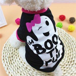 هالوين كلب الملبس XS / S / M / L كارتون الشبح رسالة طباعة الكلب قميص لربيع وصيف ملابس الحيوانات الأليفة هالوين كلب صغير الملبس DBC VT0878