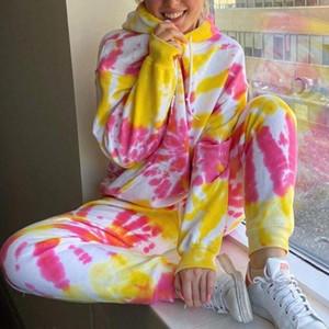 Kadınlar Koşu Takım Elbise 2 Parça Eşofman Kravat Boyası Baskılı Sweet Rahat Uzun Kollu Hoodie Ve Ter Pantolon İki Parçalı Set Kıyafet