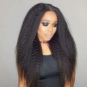 ارتفاع درجة الحرارة الألياف 13 * 4 شريط جبهة لمة الشعر الاصطناعية طويل ياكي مستقيم غريب الباروكات مع منبت الشعر الطبيعي للنساء الأسود
