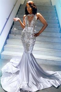 실버 비즈 장식 조각 섹시한 댄스 파티 파티 드레스 2020 민소매 크리스탈 인어 층 길이 맞춤 제작 이브닝 가운