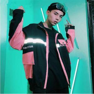 Tasarımcı ceketler Sokak Hip Hop Erkek İşleme ceketler BAGGY YAMA pocke Homme Giyim 3M Yansıtıcı Mens