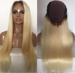 Celebrity Wigs Lace Front Wig 10A Ombre Blonde #613 Silky Straight Vietnamese Virgin Human Hair Full Lace Wig for White Woman Free Shipping