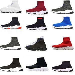 ECA Designer casuais meias sapatos da marca Speed Trainer Preto Red Triple Preto Moda Meias Botas sapatos instrutor da sapatilha 36-45