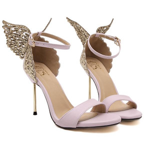 Sophia Webster Evangeline Angel-asa High Heel Sandal New Borboleta Rhinestone Studded Sandálias de couro com finas sandálias salto TAMANHO 35-40