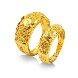Vietnam Sand Gold Star Ring du même couple d'hommes et de femmes bagues en or plaqué or et laiton doré