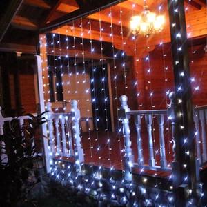 LED férias luz 3 * 3m 6 * 3m 8 * 3m 10 * 3M 300 600 800 Wedding Party Natal Lâmpadas Para Ano Novo 1000 Leds cortina da corda luzes do jardim Decora
