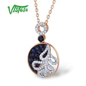 VISTOSO Gold Pendants For Women Authentic 14K 585 Rose Gold Sparkling Blue Sapphire Diamond Luxury Necklace Pendant Fine Jewelry