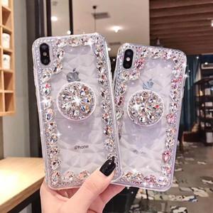 Casos titular artesanal de diamantes macia caso claro de cristal anel com casos de Kickstand 3D suporte aperto telefone para iPhone 7 8plus XR MAX 11