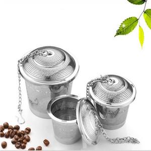 Filtro de Infuser del té Durable 3 Tamaños de plata reutilizable 304 inoxidable de malla de hierbas bola tamiz del té de la tetera EEA1087-2