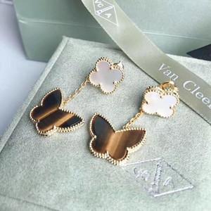 S925 Чистого серебра цветка + бабочка форма мотаться серьгами с природой черным агатом и тигровым камнем для женщин и подружки ювелирного дара