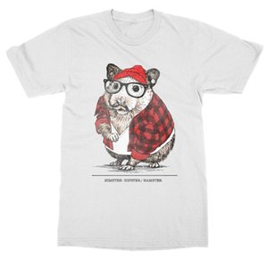 T-Shirt Casual Man Tees Himster Hipster Hamster T-Shirt Pet Animal Zoo Rodent Mouse Rat Wheel Trend Funny T Shirts