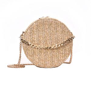Sac à bandoulière tissé à la main pour femme Sac à main Bohemian Summer Straw Beach Bag Voyage Shopping Femme fourre-tout sacs à chaînes Y190702
