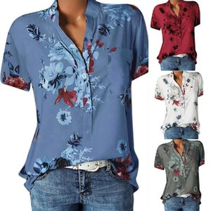 2020 Women Printing Pocket Plus Size Blouse Short Sleeve Blouse Easy Top Shirt womens tops and blouses blusas mujer de moda